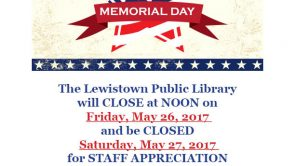 Closed Memorial Day Weekend