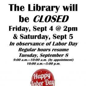 Closed to observe Labor Day